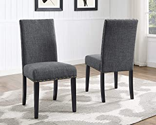 Roundhill Furniture Biony Gray Fabric Dining Chairs with...