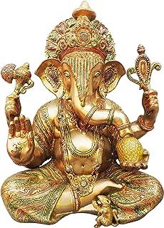 Brass Gift Center Ganesh ji Statue with Multicolour Lacquer Finish_18 Inch (Multicolour Brass)