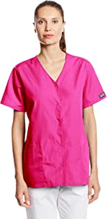 CHEROKEE Women's Workwear Scrubs Snap Front V-Neck Top, Orchid, X-Small