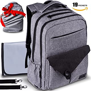 Travel Waterproof Laptop Backpack Diaper Bag - for Smart Mom and Dad – Stylish Design, Insulated Pockets, Multi-Functional Storage + FREE Portable Changing Pad – Perfect Baby Shower Gift by KidIs