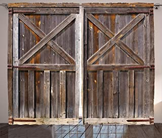 Ambesonne Rustic Curtains, Old Wooden Barn Door of Farmhouse Oak Countryside Village Board Rural Life Photo Print, Living Room Bedroom Window Drapes 2 Panel Set, 108
