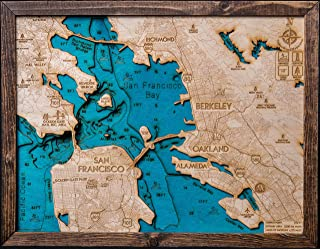 Beautifully Detailed! San Francisco 3-D Wood Map. BLUE