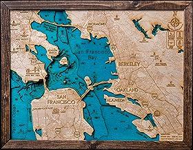 Beautifully Detailed! San Francisco 3-D Wood Map. Blue