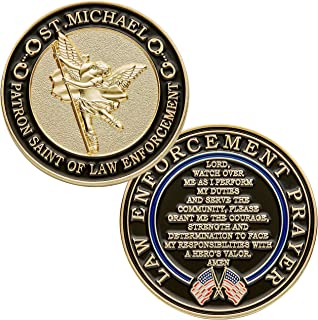 Hero's Valor St. Michael Patron Saint of Law Enforcement Challenge Coin Prayer Single Coin (1-Pack)