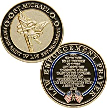 St. Michael Patron Saint of Law Enforcement Challenge Coin with Hero's Valor Prayer Single Coin (1-Pack)