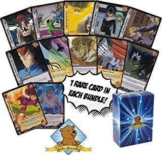 Random 50 Card Lot Featuring Yu Yu Hakusho Cards - 1 Rare Foil Card in Every Bundle - Includes Golden Groundhog Box for Storage!