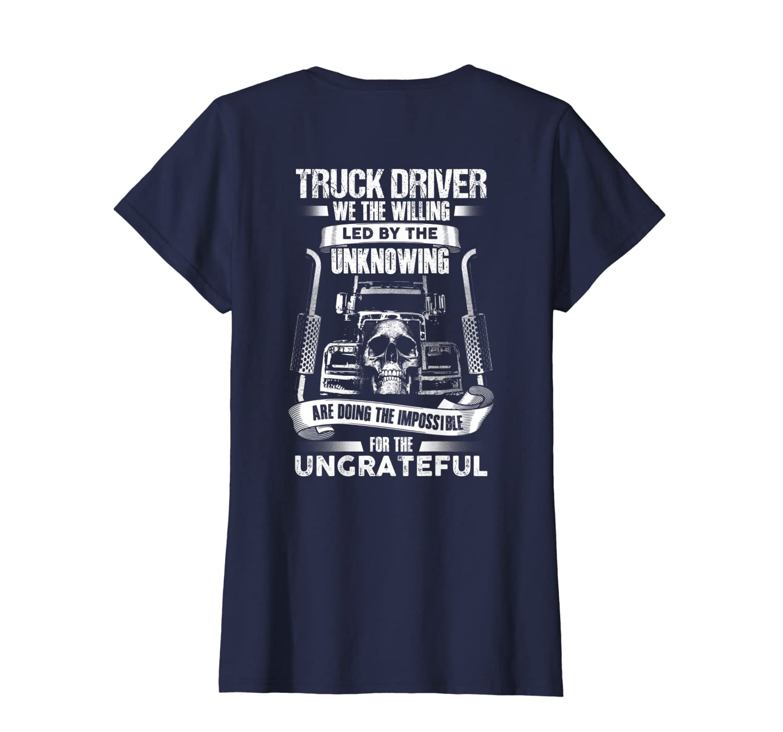 TRUCK DRIVERs Fun Truckers Trucking Skull T-Shirt Backside