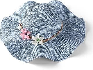 Women's Wavy Brim Straw Woven Flower Band Summer Beach Floppy Sun Hat