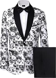 Solovedress Men's 2 Pieces Suits Casual One Button Tuxedos Business Blazer Men Suits