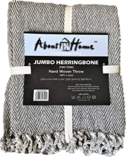 About Home Throw Blanket Cotton Rich Herringbone Multipurpose for Sofa Couch, Bedroom and Settee Cover 50x60 Inches Beige