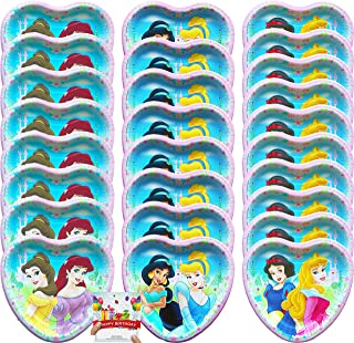 Princess Party Supplies Birthday Dessert Plates Bundle Serves 24 with Disney Princess Characters Snow White, Ariel, Jasmine, Cinderella, Belle and Aurora