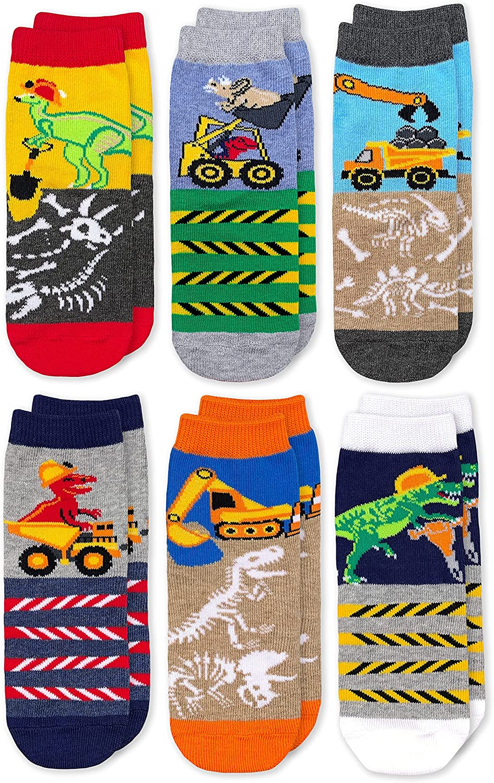Jefferies Socks boys Dinosaur Construction Crew Socks 6 Pack