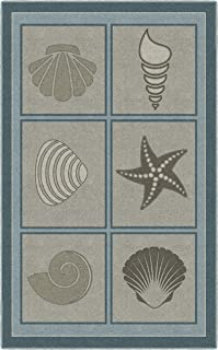 Brumlow Mills Muted Beach Squares Seashell Area Rug, 3'4