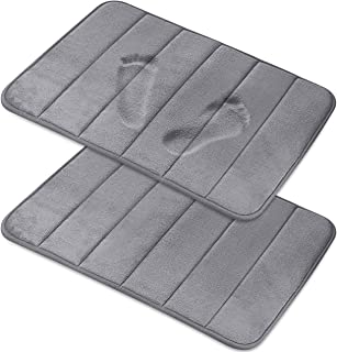 Magnificent [2-Pack] Memory Foam Bath Mat - Non-Slip Back, Coral Fleece Softness, Highly Absorbent [17X24 Inches, Grey]