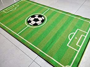 Green Football Carpet Velvet Touch 100% Polyester Latex Back Anti Slip Children Play Rugs for Bed Drawing Rooms Lounges Office Decor 150 x 80 cm