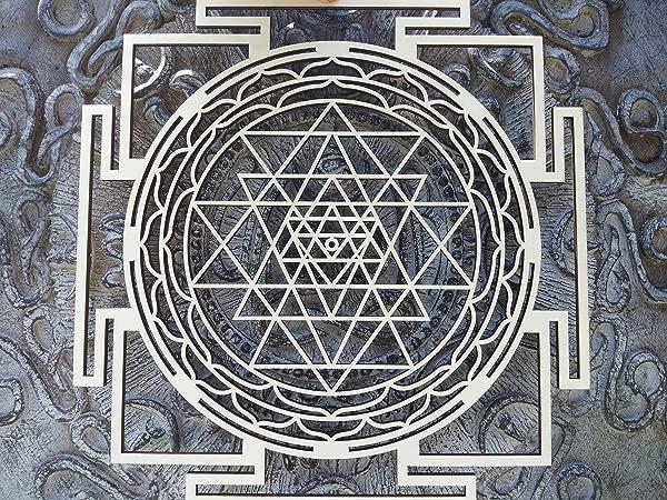 13 5 Sri Yantra Wall Art Sacred Geometry Wall Art Hindu Wooden Mandala Wall Decor Meditation Yoga Tantra Oriental Symbol Quantum Energy Device Tool For Wealth Abundance Prosperity By Atman Das