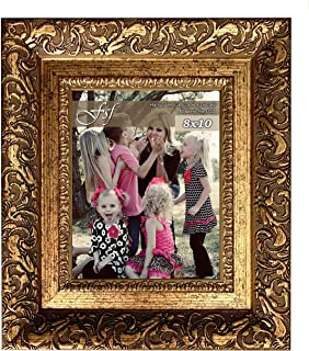 FSF Cleopatra 8x10 Inch Picture Frame - Beautiful Ornate Decorative Wide Moulding for Photo or Art - Ready to Hang Wall Mount Display (Antique Gold)