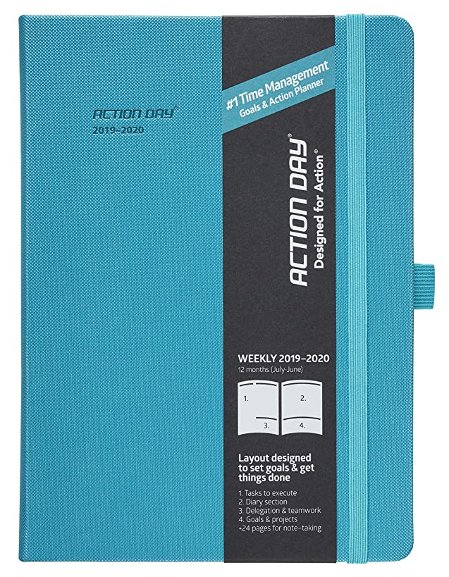2019-2020 Academic Planner by Action Day - #1 Time Management Design & You Get Things Done, Inner Pocket, Pen Loop, Thick Paper, Note-Taking, Weekly, Daily, Monthly (7x9, Thread-Bound, Turquoise)