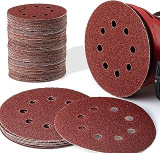 EZARC 180PCS 5 Inch 8 Hole Hook and Loop Adhesive Sanding Discs Sandpaper for Random Orbital Sander 40/60/80/120/180/240/3...