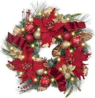 Valery Madelyn Pre-Lit 24 Inch Luxury Red Gold Christmas Wreath for Front Door with Artificial Greenery Spruce, Eucalypti Leaves, Christmas Ball Ornaments and Flowers, Battery Operated 20 LED Lights