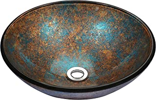 ANZZI Stellar 16.5 in x 16.5 in Modern Tempered Deco Glass Round Vessel Bathroom Sink in Emerald Burst | Lavatory Top Mount Installation Oval Toilet Sink | LS-AZ172