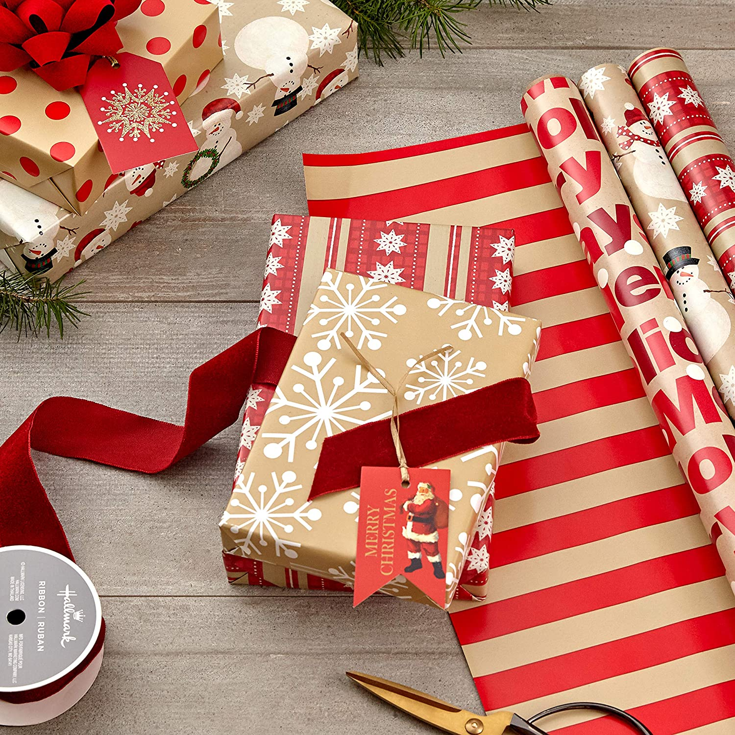 """Hallmark Reversible Christmas Wrapping Paper (3 Rolls: 120 sq. ft. ttl) """"Merry Holidays,"""" Snowflakes, Snowmen, Red Stripes : Everything Else"""