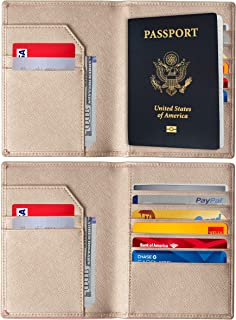RFID Blocking Passport Holder - Genuine Leather RFID Passport Holder - Slim Passport Wallet Cover Case