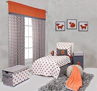 Bacati Playful Foxs 4 Piece Toddler Bedding Set, Orange/Grey