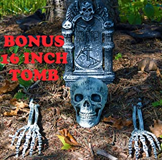 Halloween Decor Groundbreaker Halloween Skeleton Stakes Skull with 16 Inch Foam R.I.P. Graveyard Tombstone Best Outdoor Halloween Decoration Prop