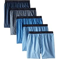 5-Pack Hanes Men's Printed Woven Exposed Waistband Boxers (Assorted, Various Sizes)