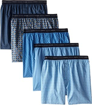 5-Pack Hanes Men's Printed Woven Exposed Waistband Boxers (various sizes)