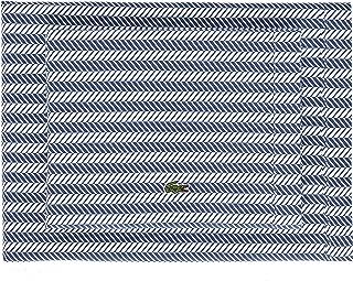 Lacoste 100% Cotton Percale Sheet Set, Herringbone Print, Vintage Indigo, King