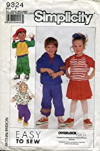 Simplicity Pattern 9324 Child's Knit Pull-on Pants and Skirt and Sweatshirts, Size A (3-6X)