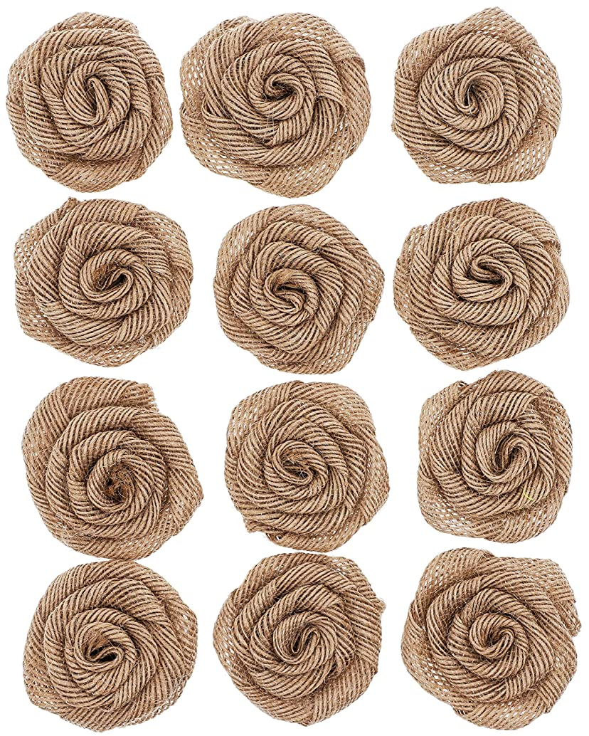 Genie Crafts 12-Pack Burlap 2-Inch Rose Flower Heads for DIY Crafts and Rustic Wedding Decor