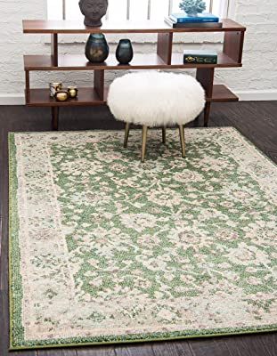 Unique Loom Penrose Collection Vintage Traditional Distressed Green Area Rug (8' 0 x 10' 0)