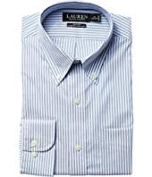 LAUREN Ralph Lauren Slim Fit Non Iron Pinpoint Stretch Stripe Button Down Collar Dress Shirt
