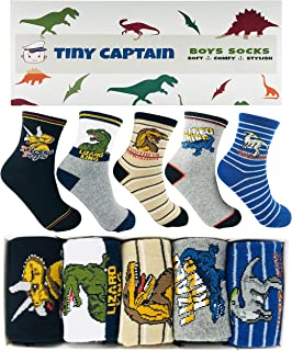 Tiny Captain Boy Socks Dinosaur Kids 4-7 Year Old & 7-10 Years Cotton Crew Gift Dino and Cars Socks
