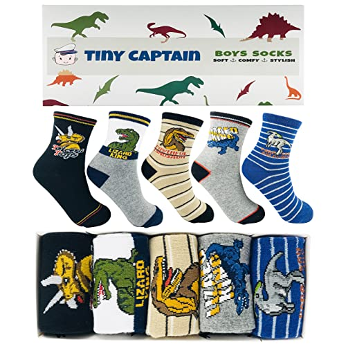 Tiny Captain Boy Dinosaur And Cars Kids Socks 4 7 10 Year