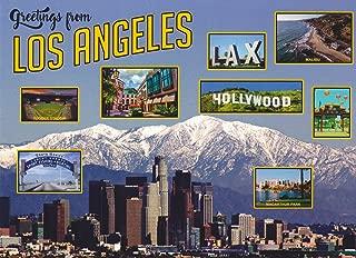 TRKLA010 0040 GREETINGS FROM LOS ANGELES, CALIFORNIA LAX, HOLLYWOOD, DODGER STADIUM, MALIBU MACARTHUR PARK Postcard ... . from HibiscusExpress