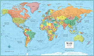 Rand McNally RM528959948 Rand McNally Full-Color 50 x 32 Laminated World Wall Map