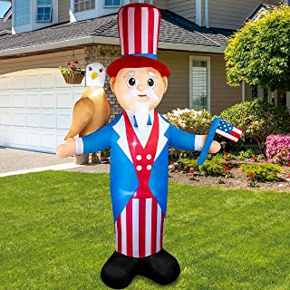 Joiedomi 7ft Patriotic Inflatable Uncle Sam with Eagle and America Flag for 4th of July, Independence Day Blow up Decorati...