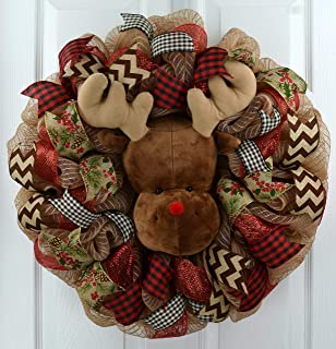 Reindeer Wreath | Red and Burlap Christmas Wreath | Rustic Front Door Wreath; Jute