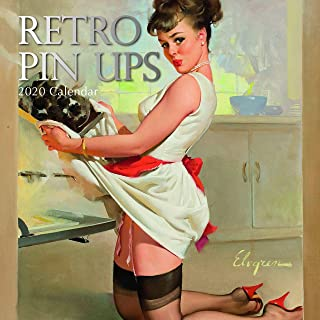 2020 Wall Calendar - Retro Pin-Ups Calendar, 12 x 12 Inch Monthly View, 16-Month, Sexy Ladies Theme, Includes 180 Reminder Stickers