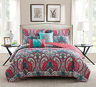 VCNY Home | Casa Real Collection | Soft Microfiber Paisley Reversible Quilt Bedspread, Premium 5 Piece Bedding Set, Stylish Retro Design for Home D�cor, Full/Queen, Pink/Turquoise