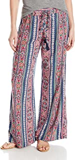 Angie Women's Printed Wide Leg Pant with Tassel