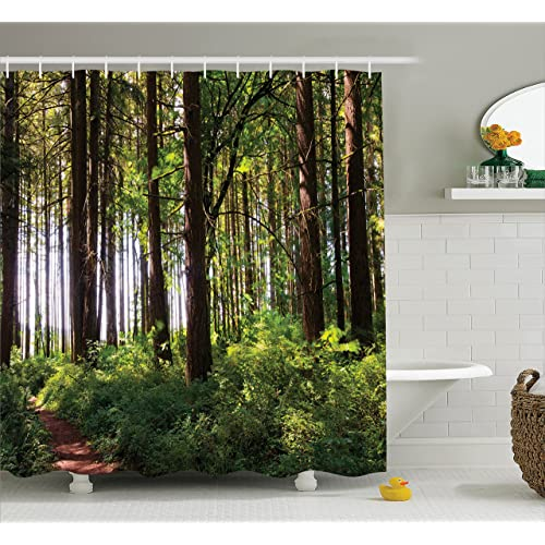 Ambesonne Farm House Decor Shower Curtain Set, Pathway In A Shady Forest Of  Bushes And