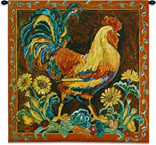 Rooster Rustic - Woven Tapestry Wall Art Hanging - Vibrant Country Farm Chicken - 100% Cotton USA Size 35x35