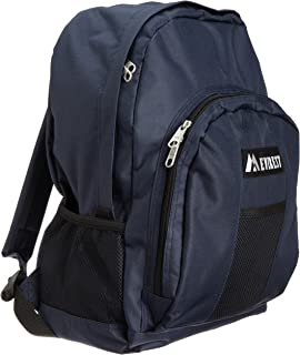 Everest Luggage Backpack with Front and Side Pockets, Navy, Large