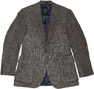 Polo Mens Virgin Wool Harringbone Sport Coat Blazer Black Italy 40L