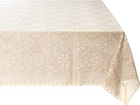"Violet Linen Stars Crochet Vintage Lace Design Tablecloth, 60"" Square, Ivory"